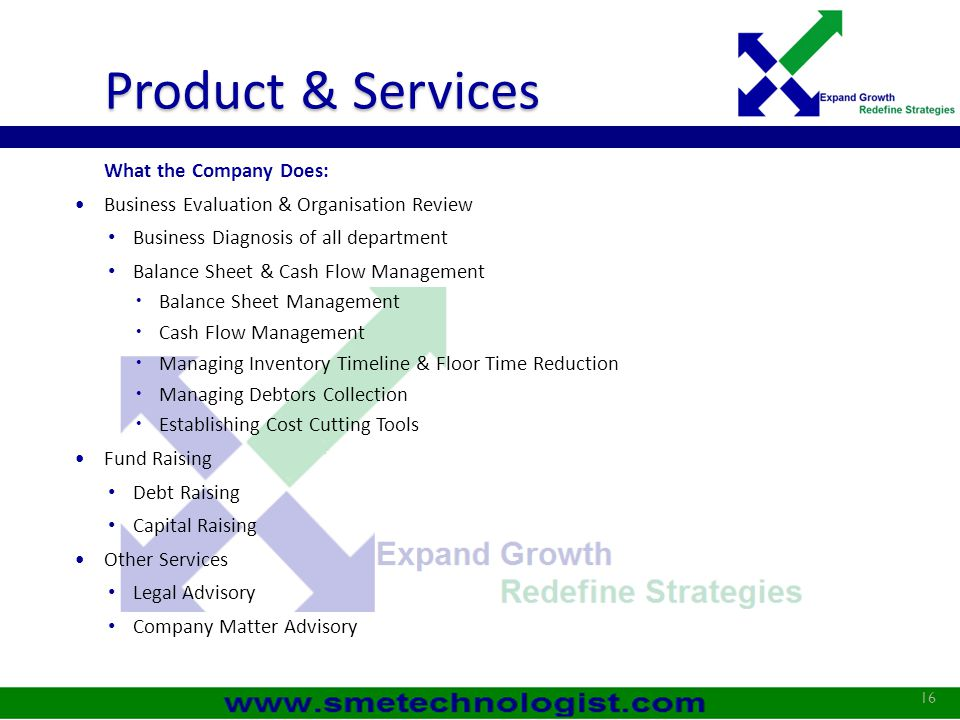 Product & Services What the Company Does: