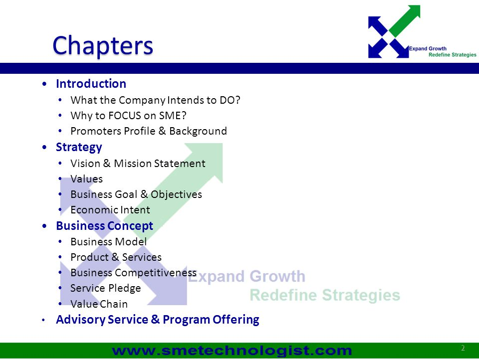 Chapters Introduction Strategy Business Concept