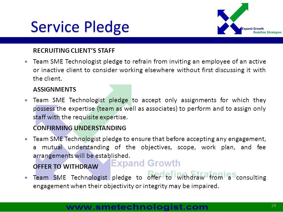 Service Pledge RECRUITING CLIENT'S STAFF