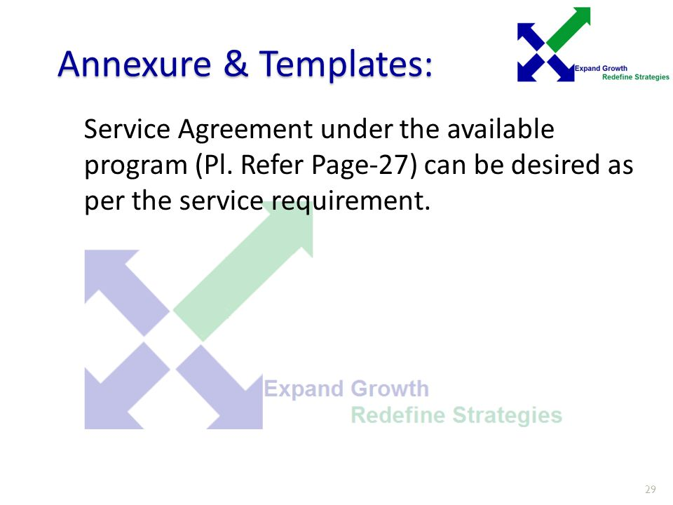 Annexure & Templates: Service Agreement under the available program (Pl.