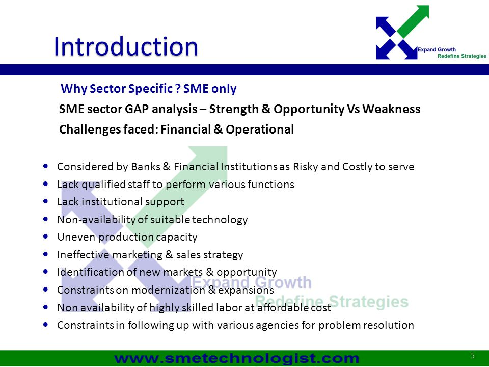 Introduction Why Sector Specific SME only