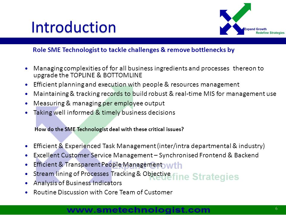 Introduction Role SME Technologist to tackle challenges & remove bottlenecks by.