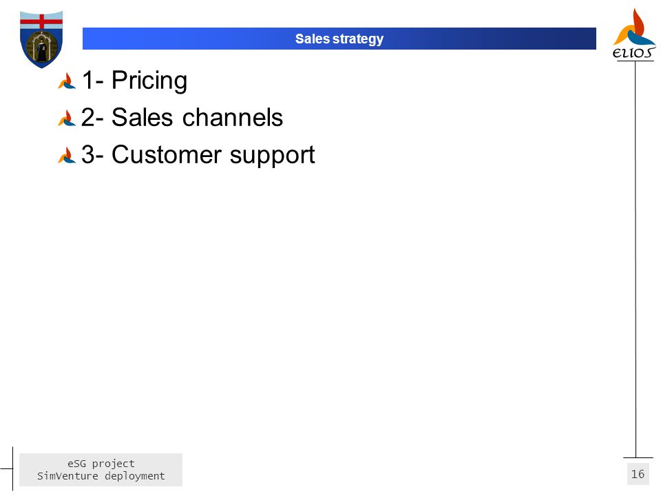 Sales strategy 1- Pricing 2- Sales channels 3- Customer support