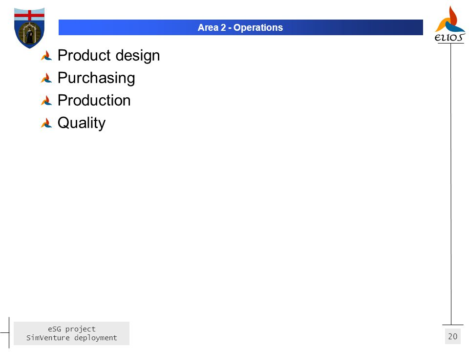 Area 2 - Operations Product design Purchasing Production Quality