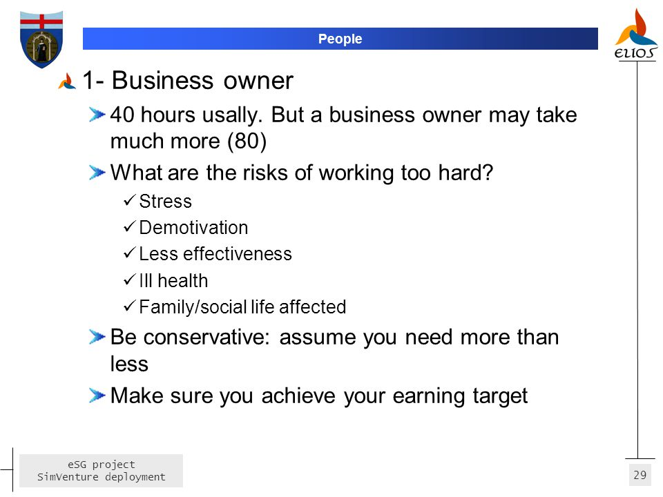 People 1- Business owner. 40 hours usally. But a business owner may take much more (80) What are the risks of working too hard