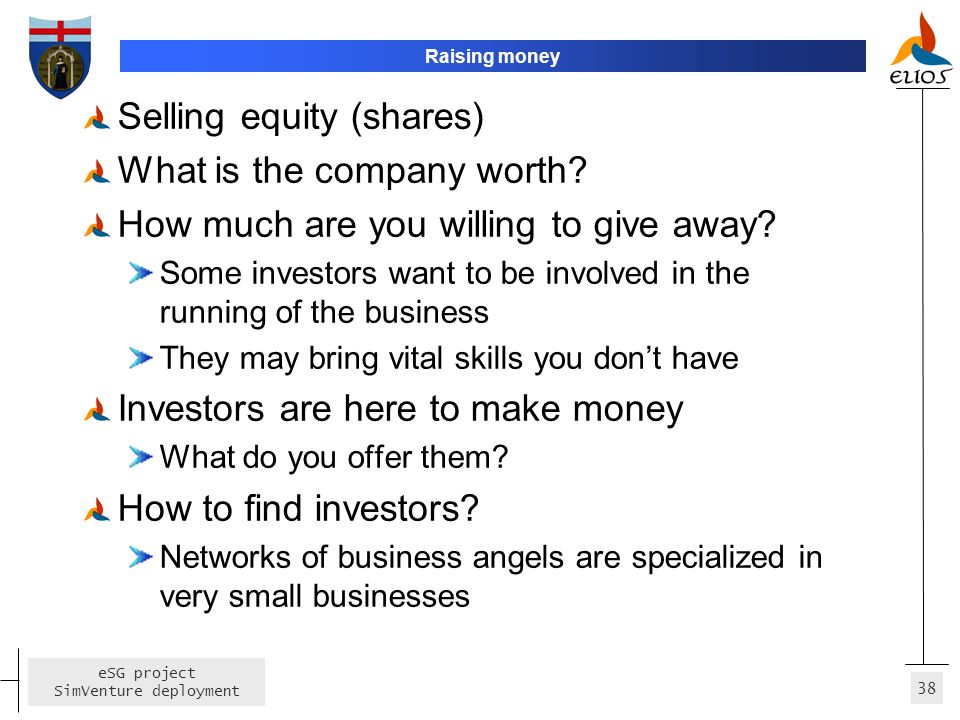 Selling equity (shares) What is the company worth