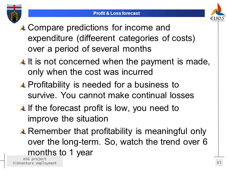 If the forecast profit is low, you need to improve the situation