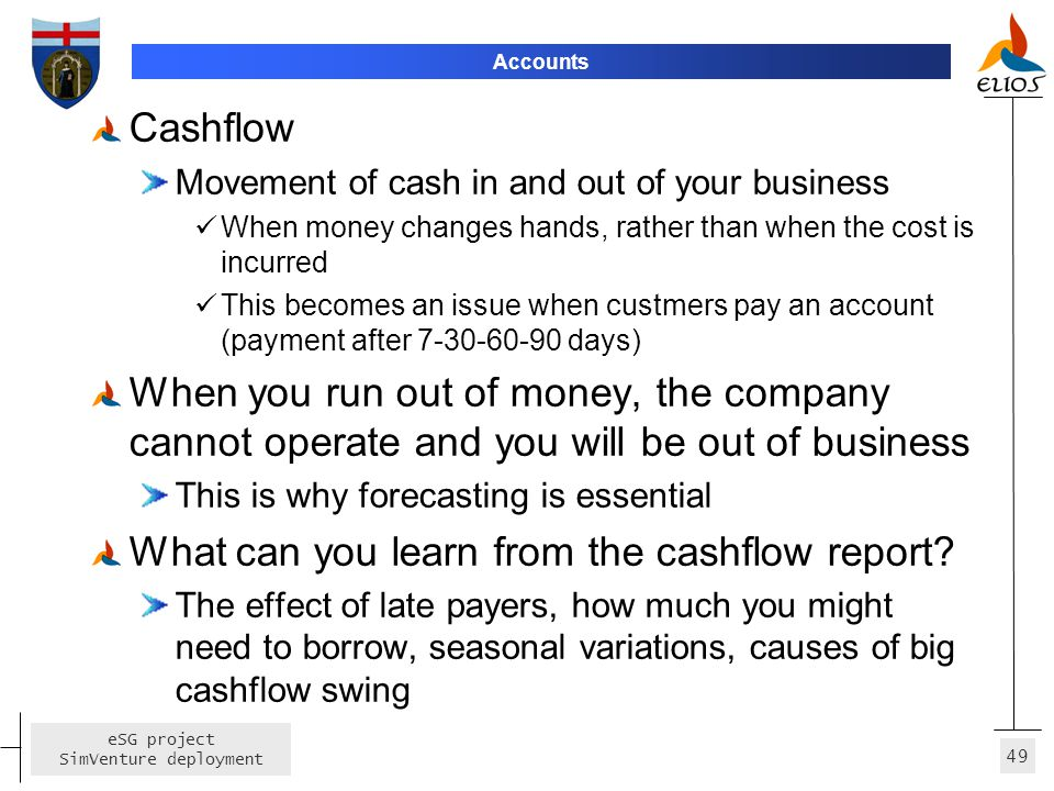 What can you learn from the cashflow report