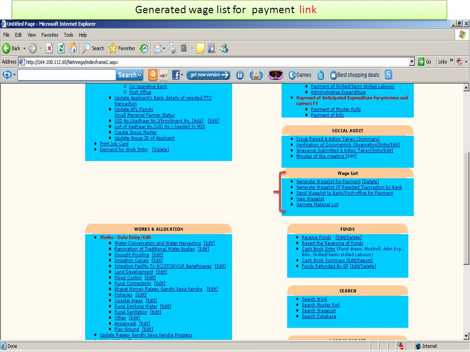 Generated wage list for payment link