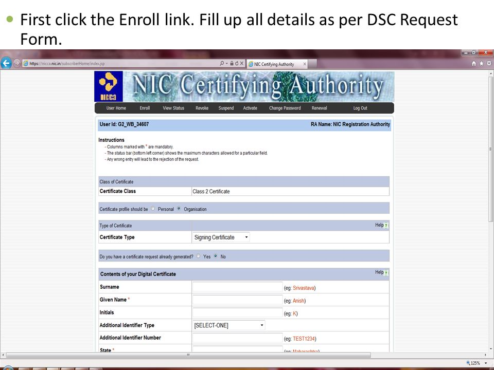 First click the Enroll link