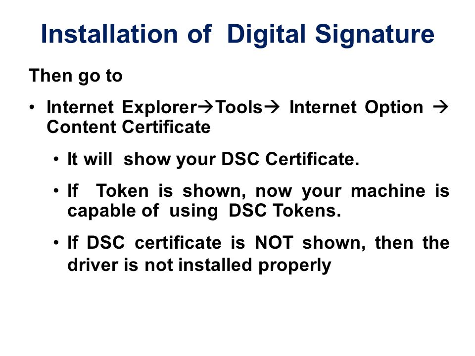 Installation of Digital Signature