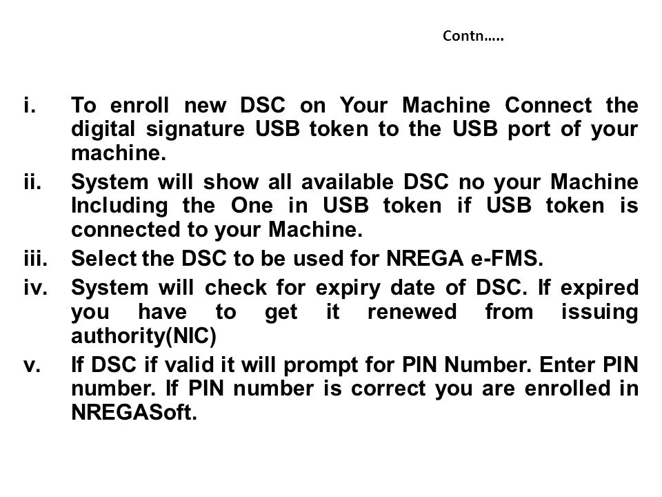 Select the DSC to be used for NREGA e-FMS.