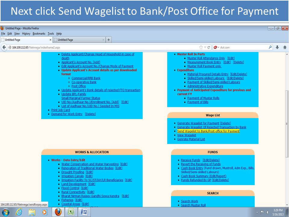 Next click Send Wagelist to Bank/Post Office for Payment