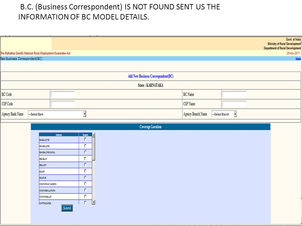B.C. (Business Correspondent) IS NOT FOUND SENT US THE INFORMATION OF BC MODEL DETAILS.