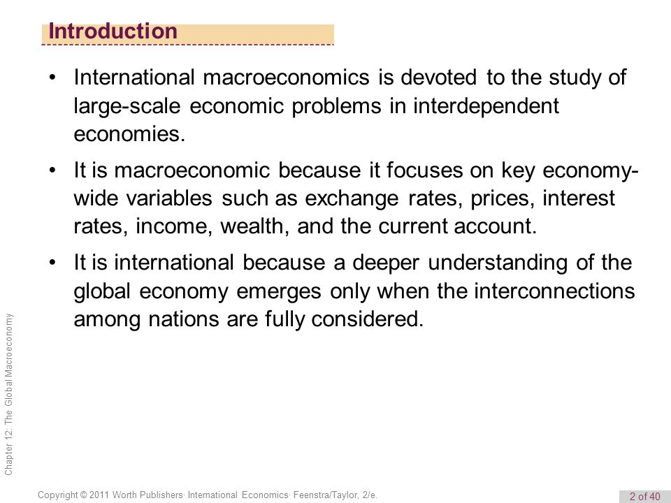 Introduction International macroeconomics is devoted to the study of large-scale economic problems in interdependent economies.