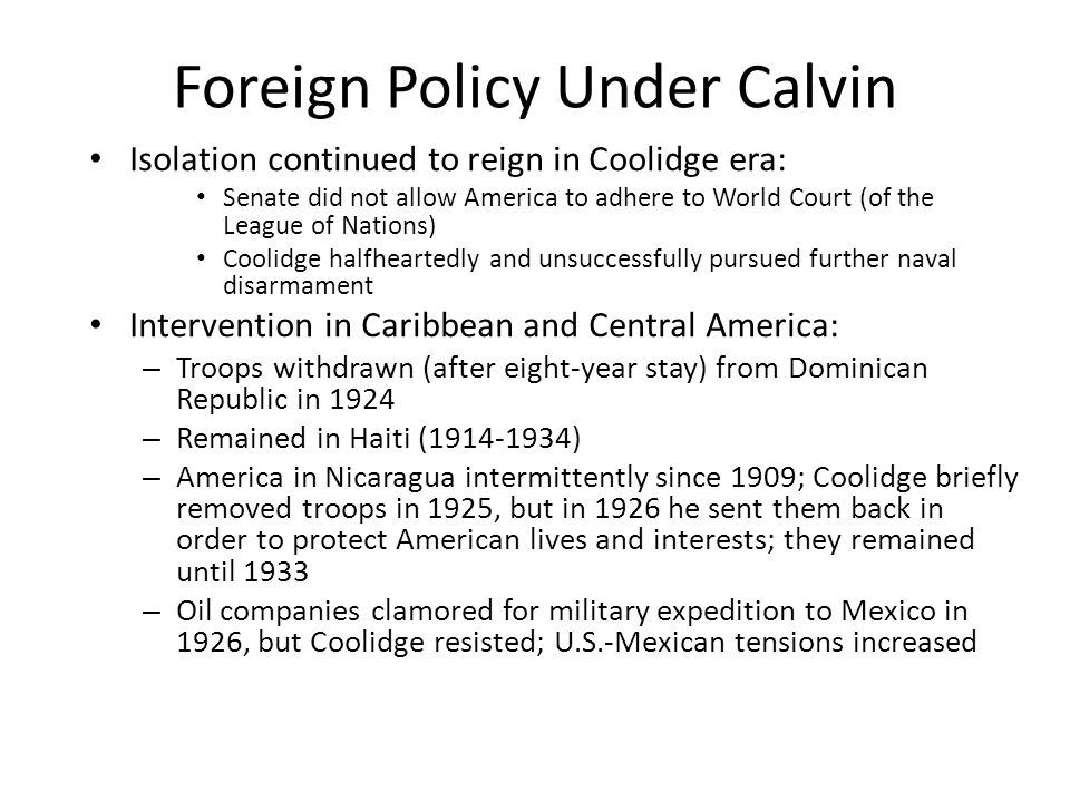 Foreign Policy Under Calvin