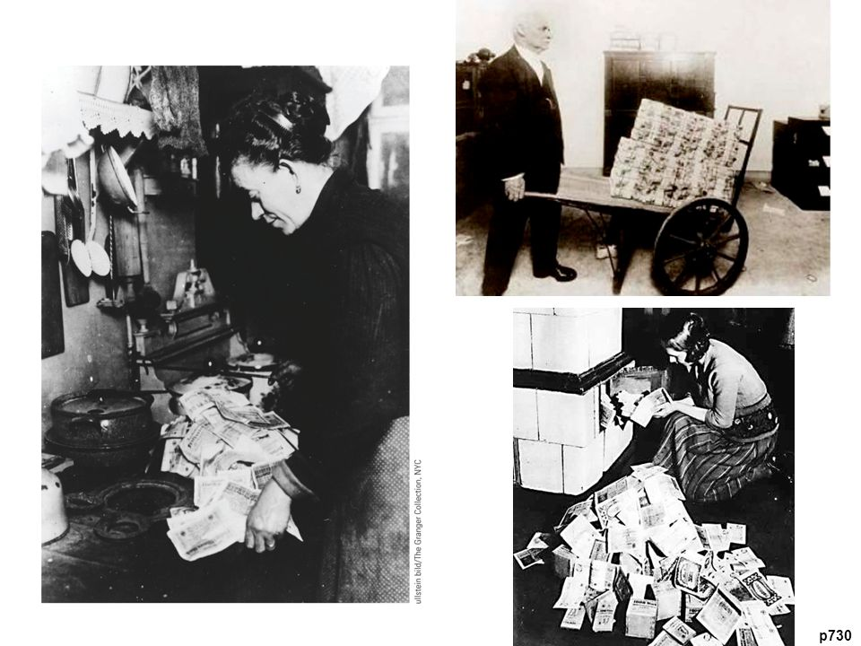 A German Woman Burns Near-Worthless Paper