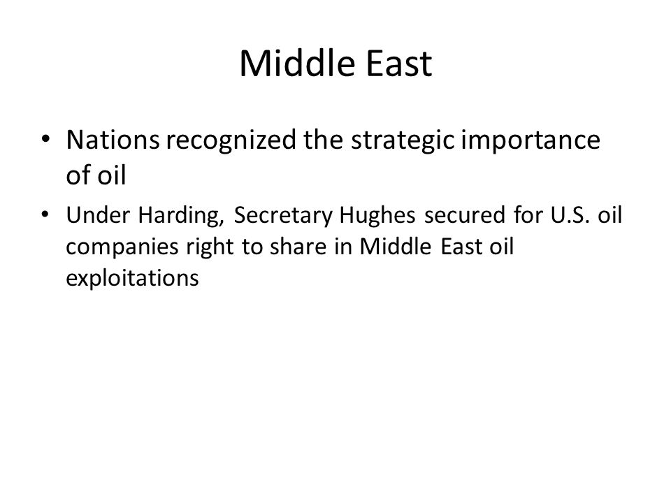 Middle East Nations recognized the strategic importance of oil