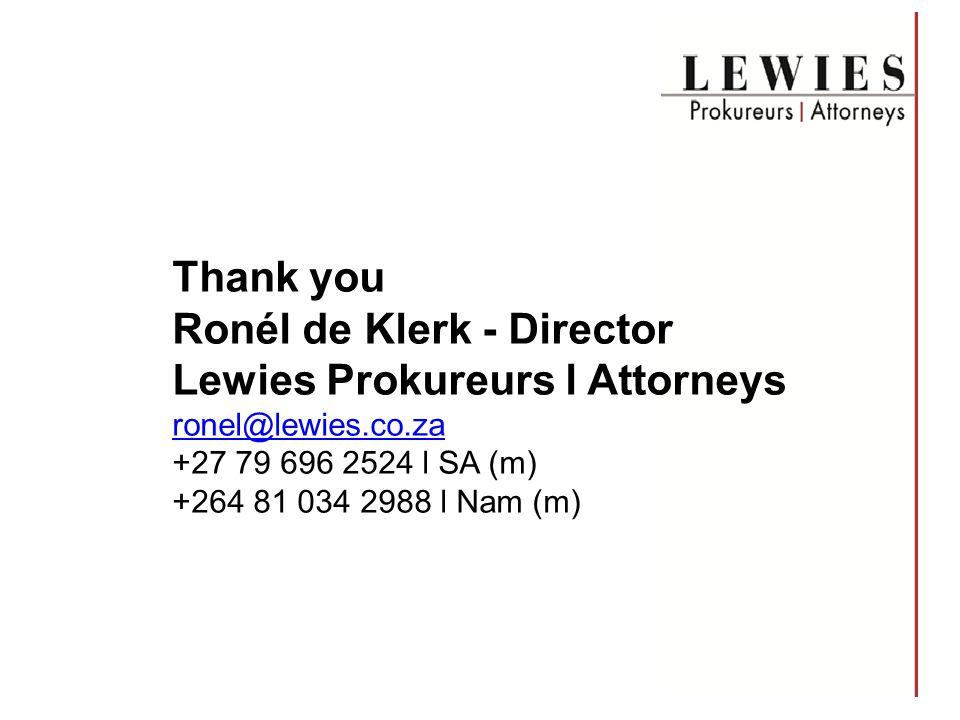 Ronél de Klerk - Director Lewies Prokureurs l Attorneys