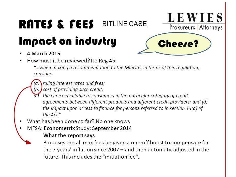 RATES & FEES Impact on industry Cheese BITLINE CASE 4 March 2015