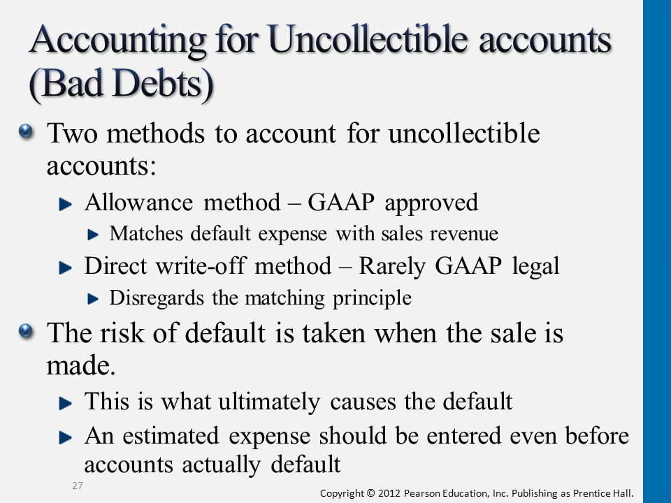 Accounting for Uncollectible accounts (Bad Debts)