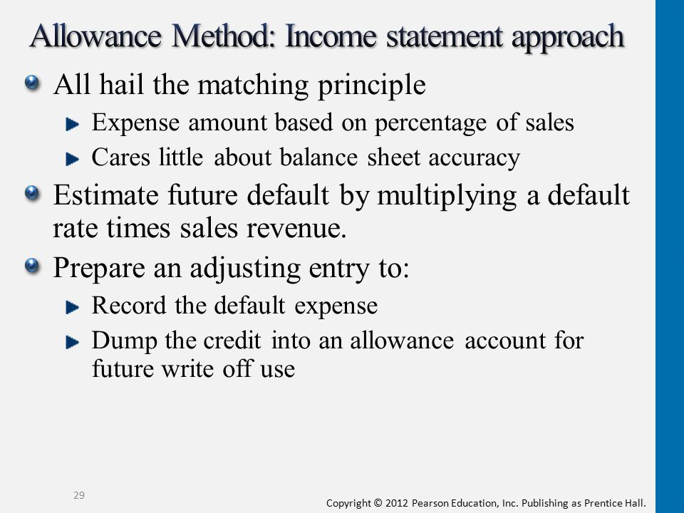 Allowance Method: Income statement approach