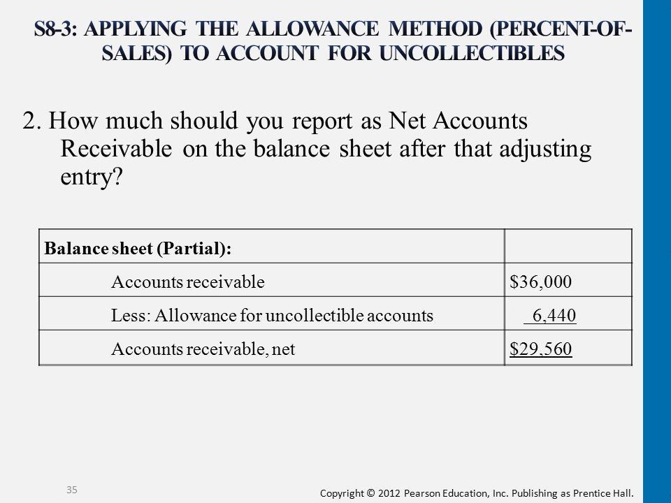 S8-3: Applying the allowance method (percent-of- sales) to account for uncollectibles