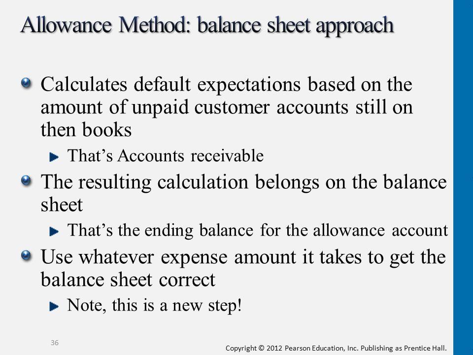 Allowance Method: balance sheet approach