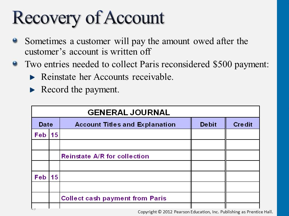 Recovery of Account Sometimes a customer will pay the amount owed after the customer's account is written off.