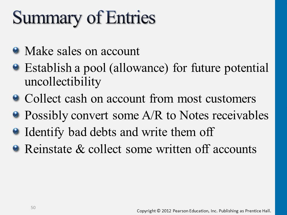 Summary of Entries Make sales on account