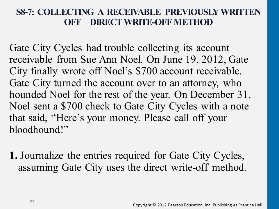 S8-7: Collecting a receivable previously written off—direct write-off method