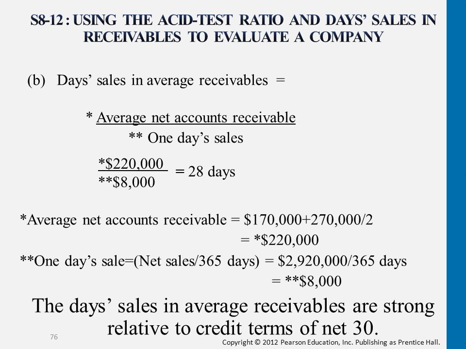 S8-12 : Using the acid-test ratio and days' sales in receivables to evaluate a company