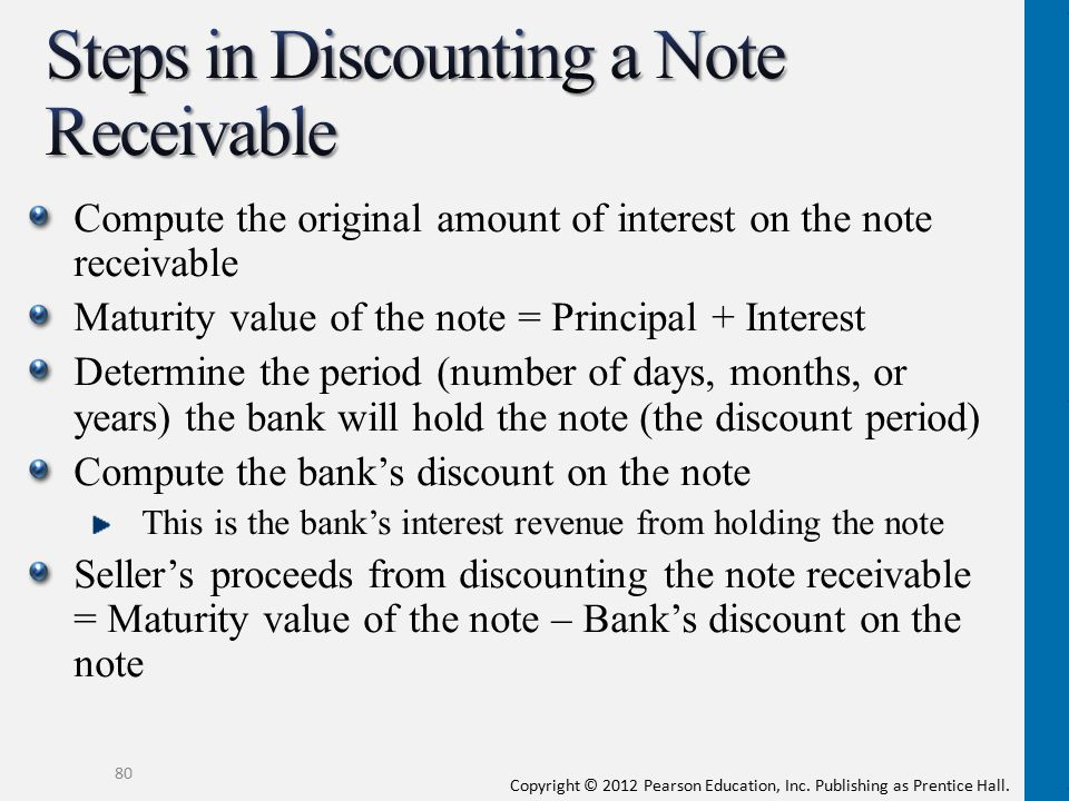 Steps in Discounting a Note Receivable