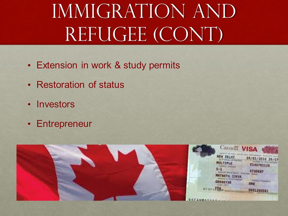 Immigration and refugee (Cont)