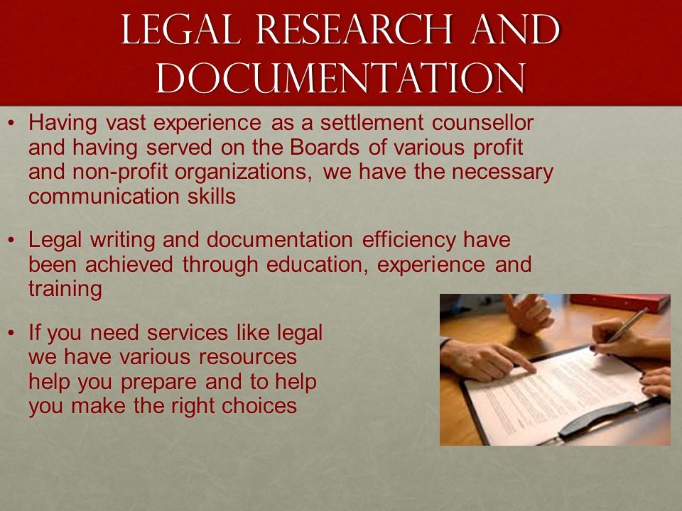 Legal Research and Documentation