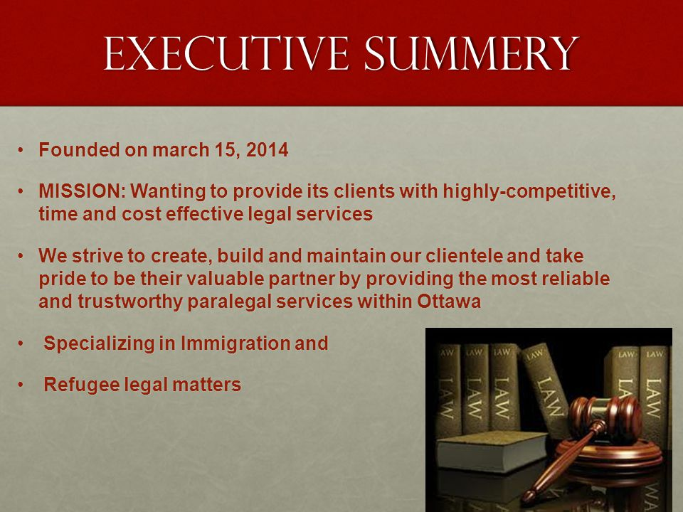 EXECUTIVE SUMMERY Founded on march 15, 2014