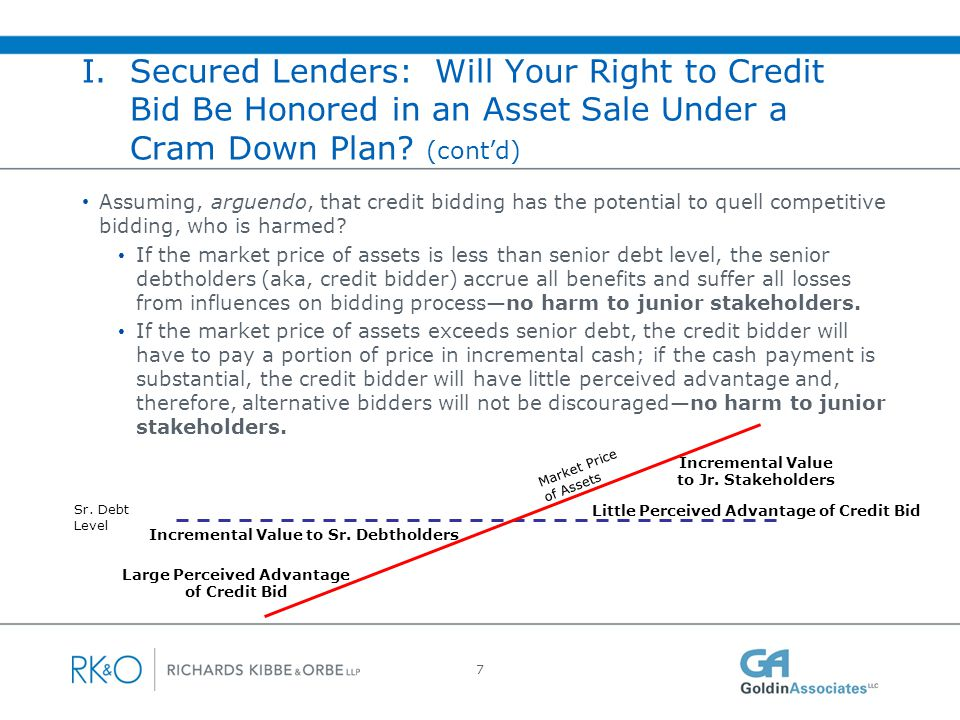 I. Secured Lenders: Will Your Right to Credit Bid Be Honored Sale In a Cram Down Plan (cont'd)