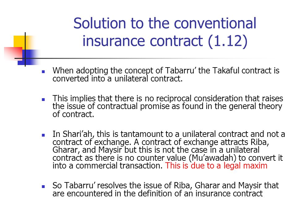 Solution to the conventional insurance contract (1.12)