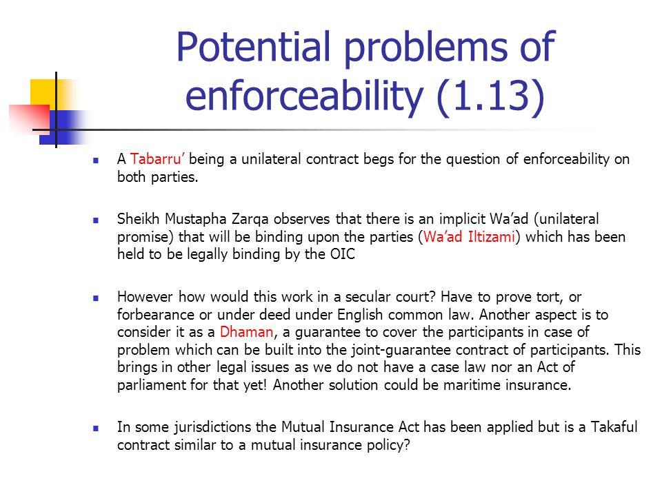 Potential problems of enforceability (1.13)