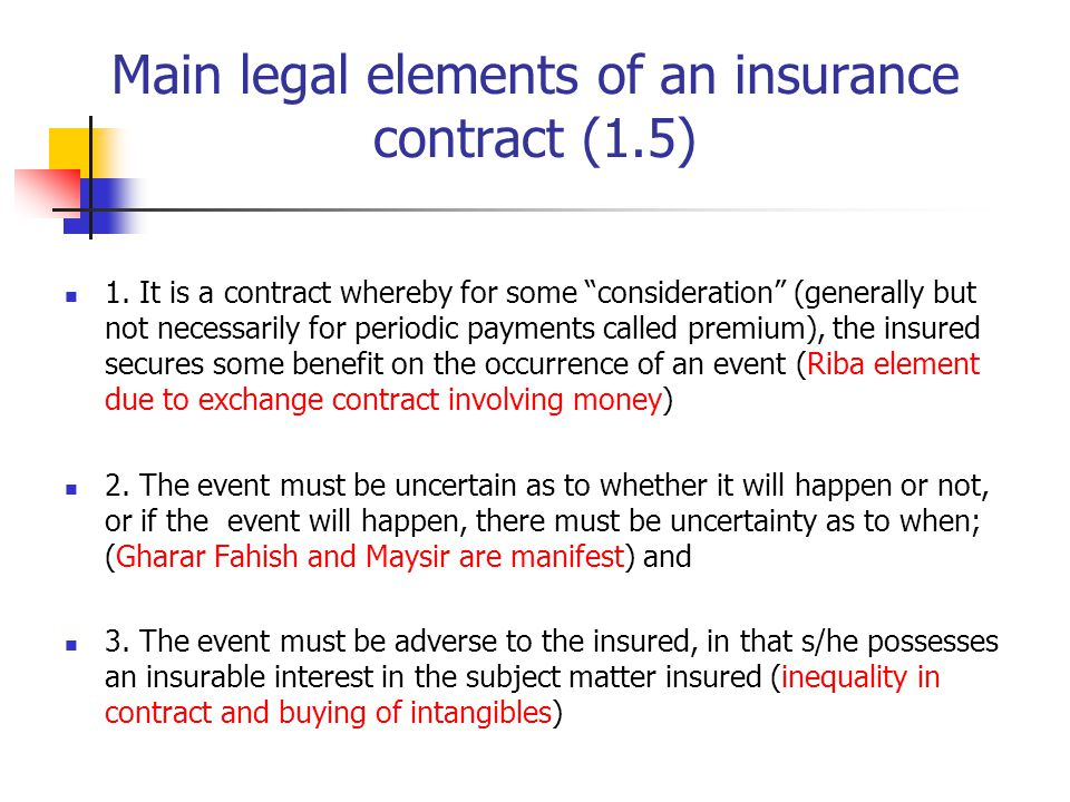 Main legal elements of an insurance contract (1.5)