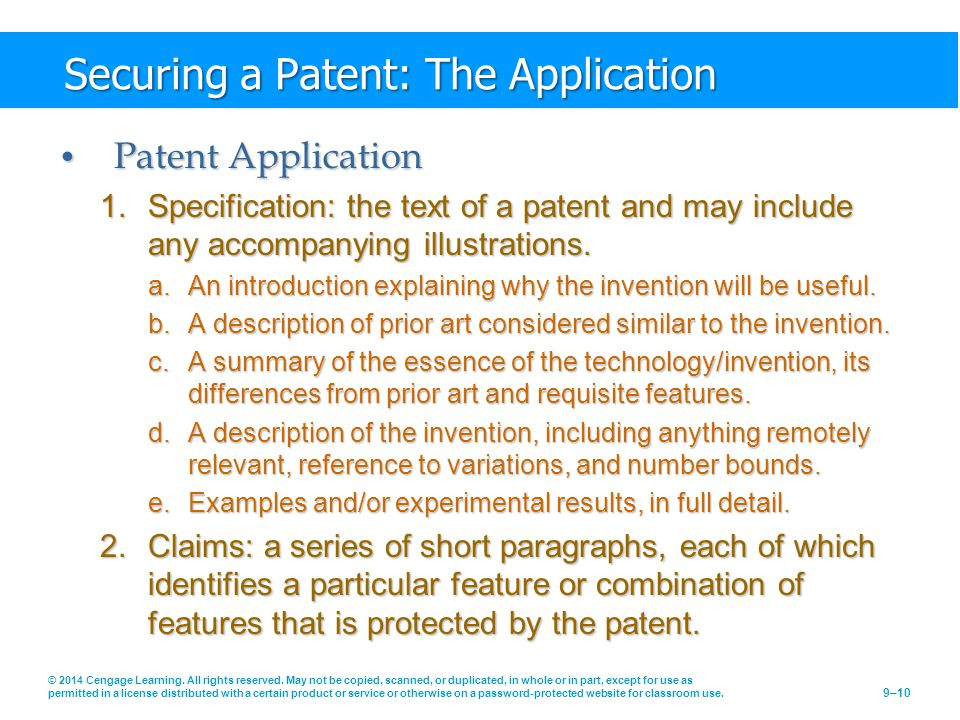 Securing a Patent: The Application