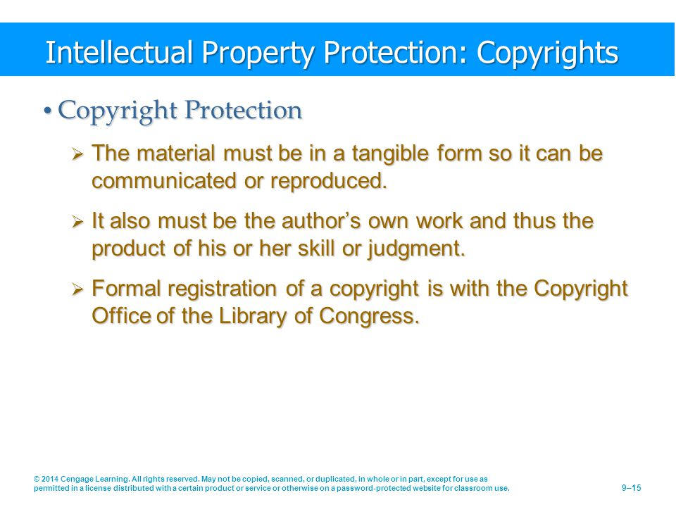 Intellectual Property Protection: Copyrights