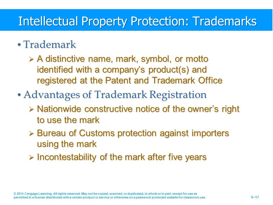 Intellectual Property Protection: Trademarks