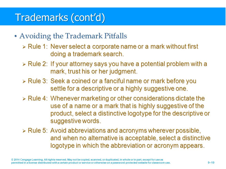 Trademarks (cont'd) Avoiding the Trademark Pitfalls