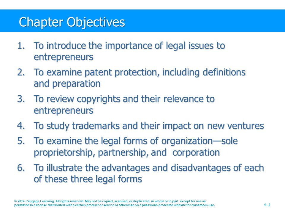 Chapter Objectives To introduce the importance of legal issues to entrepreneurs.