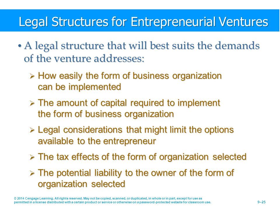 Legal Structures for Entrepreneurial Ventures