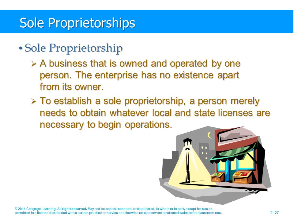 Sole Proprietorships Sole Proprietorship