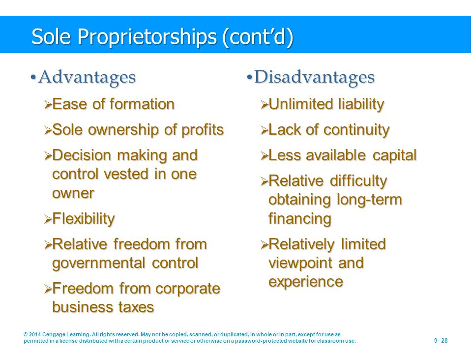 Sole Proprietorships (cont'd)