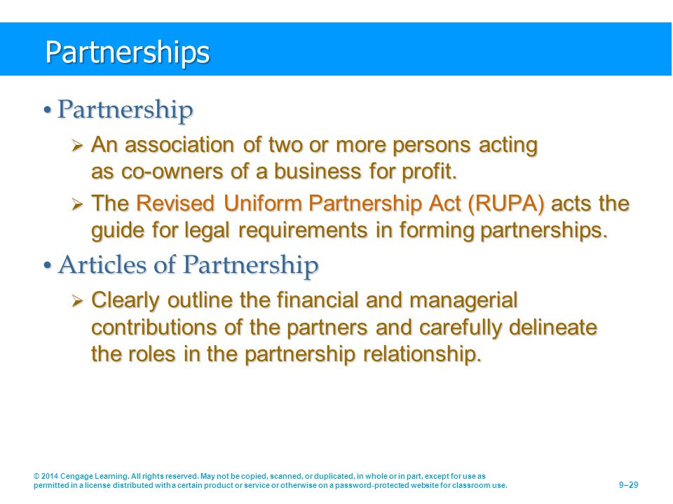 Partnerships Partnership Articles of Partnership