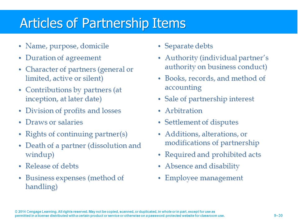 Articles of Partnership Items